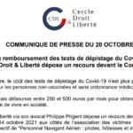 Fin du remboursement des tests de dépistage du Covid-19 : le Cercle Droit & Liberté dépose un recours devant le Conseil d'Etat